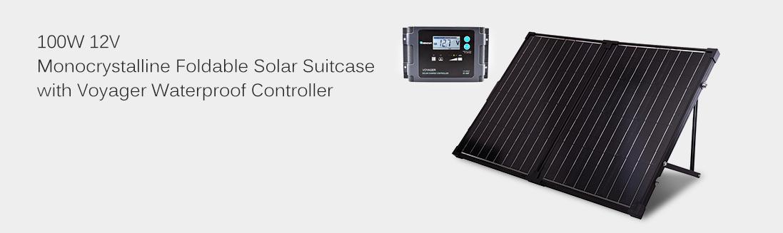 100W 12V Monocrystalline Foldable Solar Suitcase W/ Waterproof Controller